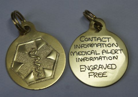 Medical Alert Pendant  Engraved and posted same day.